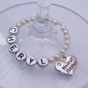 Maid Of Honour Personalised Wine Glass Charm - Full Bead Style